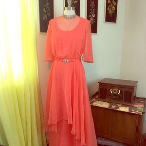 VTG 60's Peach Formal Ballroom Hostess Style Gown